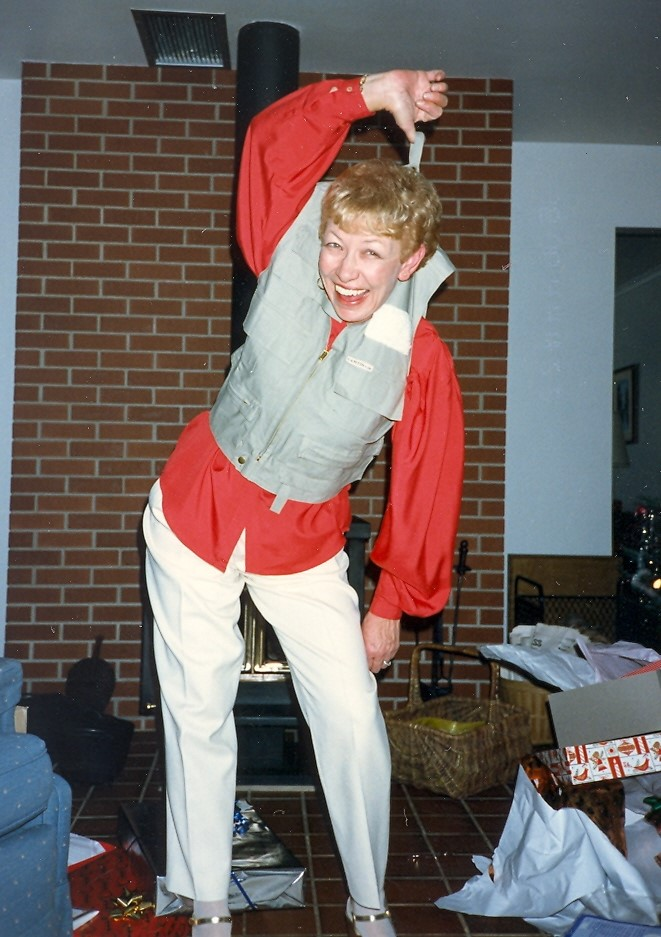 My mom goofing around.  She was always laughing!